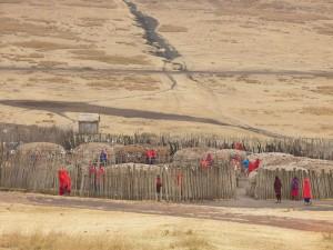 Poblado Masai en als faldas del Ngorongoro