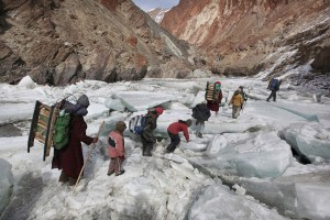 Kids Traveling To A Boarding School Through The Himalayas, Zanskar, Indian Himalayas Copyright Timothy Allen