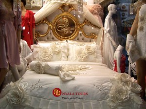 Luxury beddings in an a shop for interior clothings and bed linens
