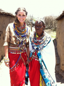 Olivia Palermo with Margaret at the homes of the Pikolinos Maasai women in Africa for Pikolinos .