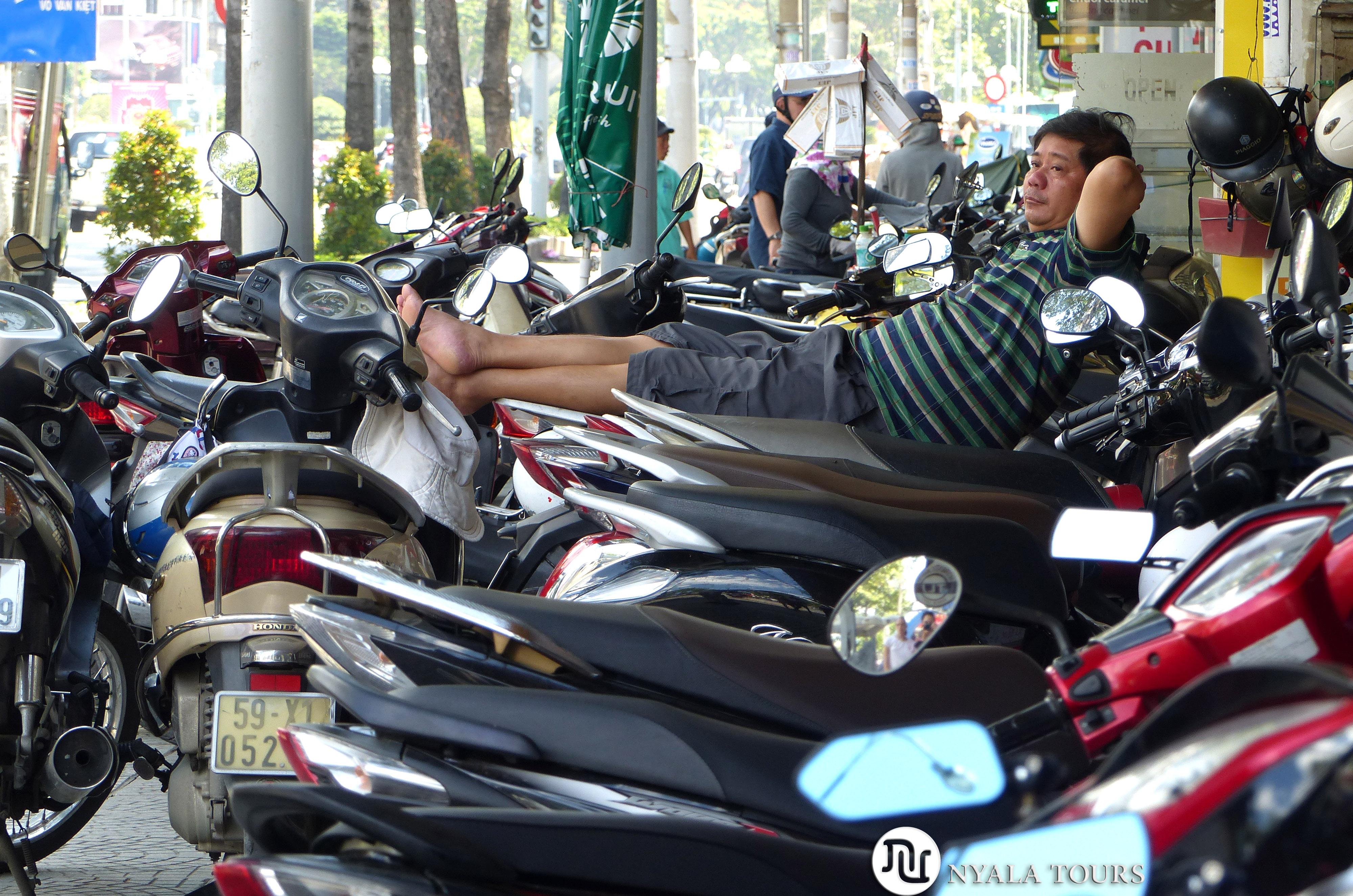 Siesta on bike, Ho Chi Minh, Vietnam